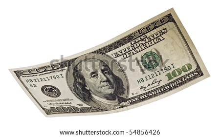 hundred dollar banknote,isolated on white with clipping path.