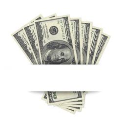 hundred dollar banknotes on white background