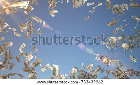 Hundred dollar banknotes, 100 US Dollar (USD) bills, banknotes flying in the air over blue sky background, 3D Rendering with Lens Flare, center copy space