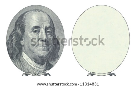 Hundred dollar. Benjamin Franklin and blank place.