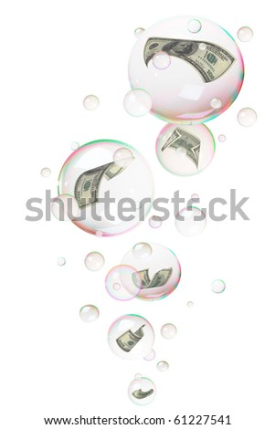 Hundred dollar bills diving  into bubbles, isolated on white
