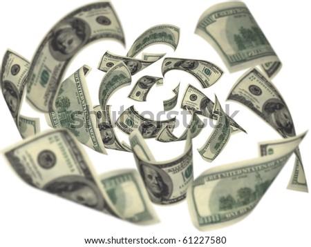 Hundred dollar bills falling on white background