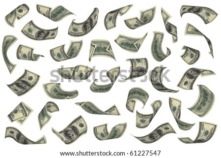 Hundred dollar bills falling on white background. No overlap, easy to crop individual pieces and use as you like.
