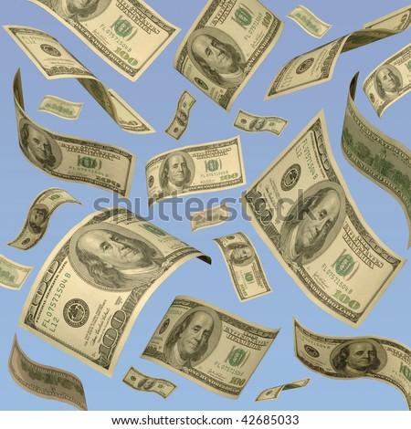 Hundred-dollar bills floating against a blue sky.
