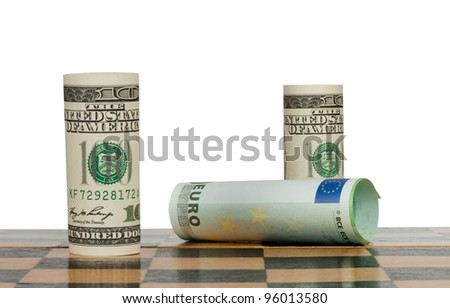 Hundred dollar bills in a chess game win Euro
