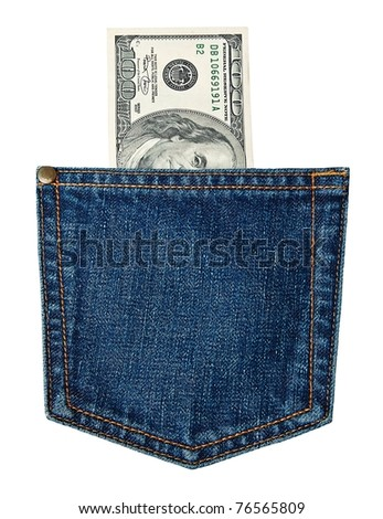 hundred-dollar bills in jeans pocket isolated on white
