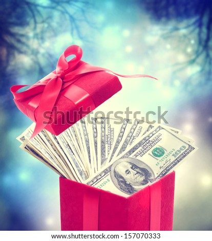 Hundred dollar bills in the red present box at magic night