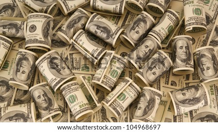 Hundred dollar bills money pile