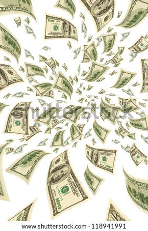 Hundred-dollar bills on a white background, vertical.