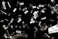hundred dollars banknotes fly on black background. money rain concept