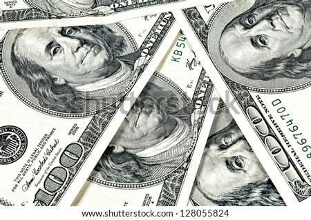 Hundred dollars bills as background