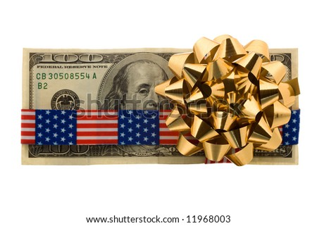 Hundred dollars gift wrapped with banner tape