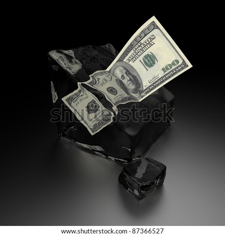 Hundred dollars in ice cube that melt