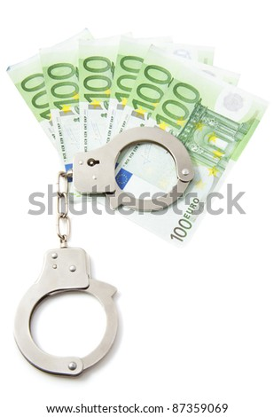 Hundred euro bills with handcuffs over white