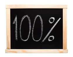 Hundred percent written on blackboard