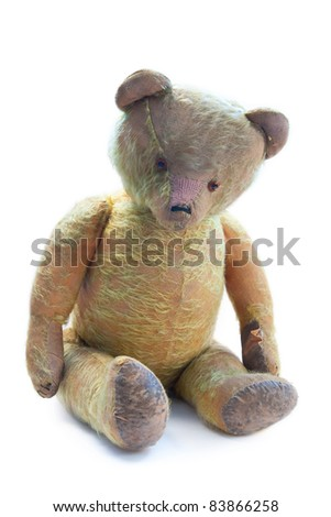 hundred years old and sad teddy bear