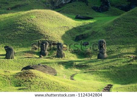 Hundreds of abandoned Moai statue on Rano Raraku volcano, Easter Island, Archaeological UNESCO World Heritage site of Chile Zdjęcia stock ©