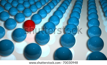 Hundreds of blue spheres on floor with one red sphere