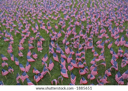 Hundreds of flags in a 9-11 memorial.