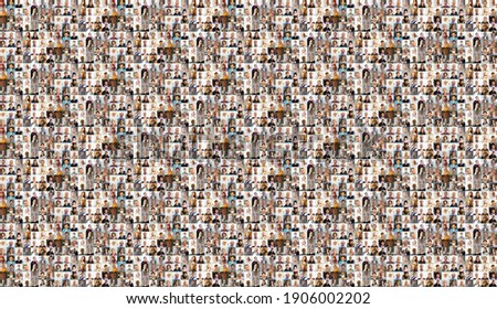 Hundreds of multiracial people crowd portraits headshots collection, collage mosaic. Many lot of multicultural different male and female smiling faces looking at camera. Diversity and society concept