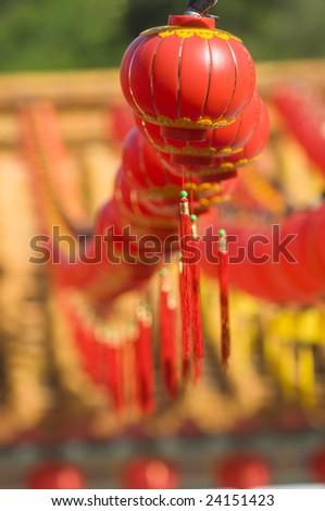 Hundreds of red lanterns at Thean Hou temple, Kuala Lumpur, Malaysia.