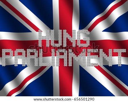 Shutterstock Hung Parliament text of votes on rippled British flag illustration