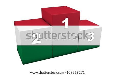 "Hungarian athletics sports top positions podium. 3d rendering for concept "" the best of Hungary"". Isolated on white"