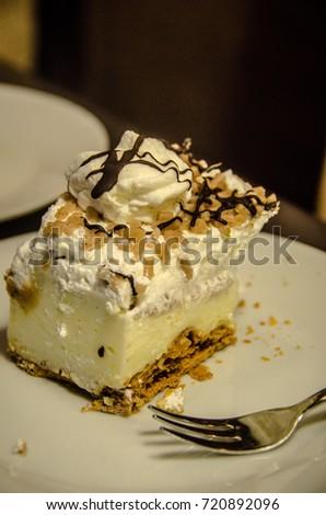 Hungarian Chestnut Creme Cake called Gesztenye Torta in Hungarian. Stock fotó ©