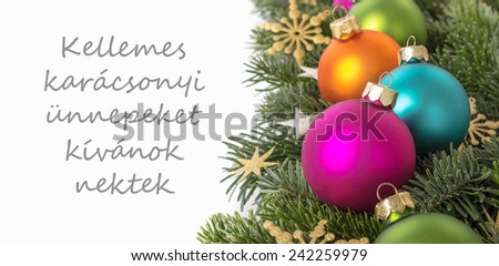 Christmas and new year greetings in hungarianhappy new year goodbye hungarian christmas card christmas baubles fir branches golden stars and te christmas and new year m4hsunfo