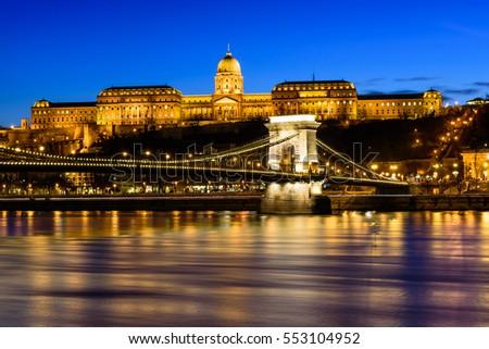 Hungarian landmarks, Chain Bridge, Royal Palace and Danube river in Budapest at night