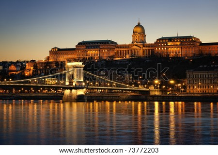 Hungarian landmarks, Chain Bridge, Royal Palace and Danube river in Budapest at night. #73772203