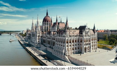 Hungarian parliament aerial view - Shutterstock ID 659444029