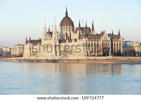 Hungarian parliament at sunset, Budapest - stock photo