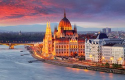 Hungarian parliament, Budapest at sunset