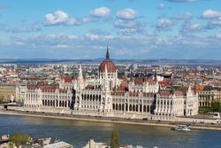 Hungarian Parliament Building at river Danube, Hungary