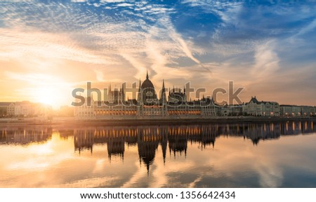Hungarian Parliament Building by Sunrise #1356642434
