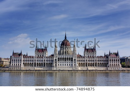 Hungarian parliament building on the banks of the river Danube in Budapest Hungary