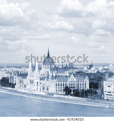 Hungarian Parliament Buildings and Danube River. Budapest
