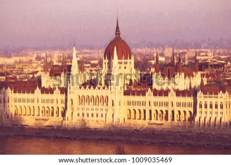 Hungarian parliament in sunset light, Budapest. Travel destination. Illustration theme.