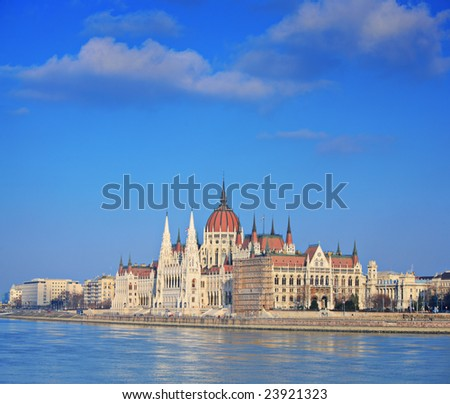 Hungarian Parliament standing by river Danube in Budapest, Hungary