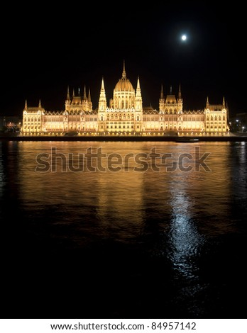 Hungarian parliament with Moon and floodlight at night, Budapest