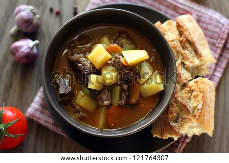 Hungarian soup with beef and vegetables