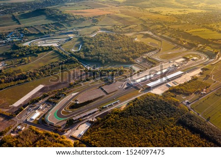 Hungaroring, Official forma 1 race track of Hungary in Mogyorod city.  Amazing autumn morning lights. Stock photo ©