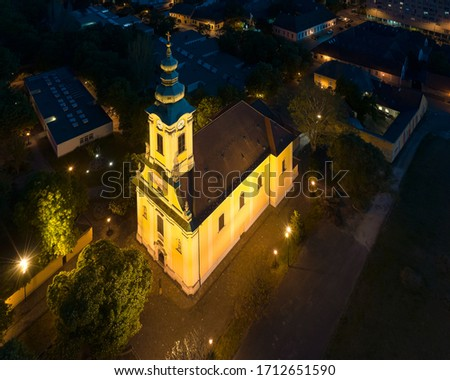 Hungary Budapest. Aerial view about St Peter and Paul Church in Old buda district. This temple is found the Szentlelek square. That is the city center of III district. Stock fotó ©