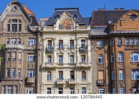 Hungary, Budapest, facades of old houses