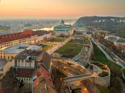Hungary Budapest. Famous popular historical Buda royal castle. Fantastic spring mood. aerial photo with drone