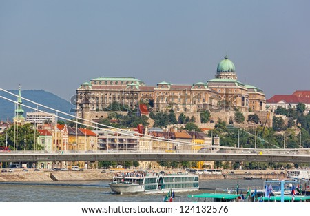 Hungary, Budapest. View of Danube and Royal castle
