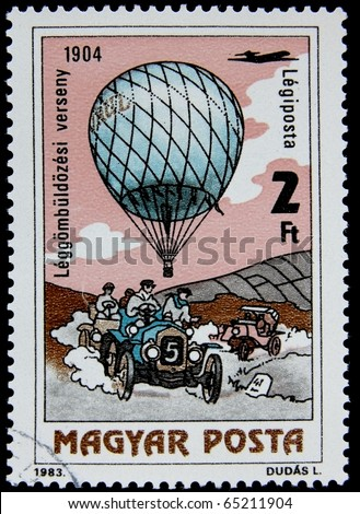 HUNGARY -CIRCA 1983: A post stamp printed in Hungary devoted  air and overland transport, circa 1983