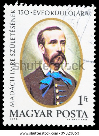 HUNGARY - CIRCA 1973: a stamp from Hungary shows image of Hungarian writer, poet, lawyer and politician Imre Madach, circa 1973