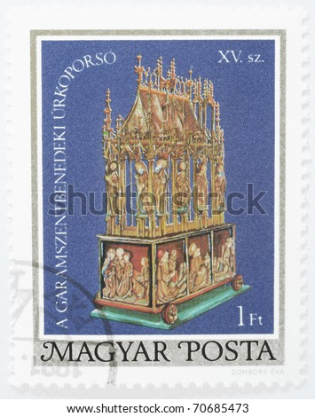 HUNGARY - CIRCA 1980: a stamp from Hungary shows the Easter Casket of Garamszentbenedek (in present day Slovakia), circa 1980 - stock photo